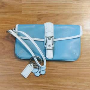 Coach Baby Blue & White Leather Wristlet